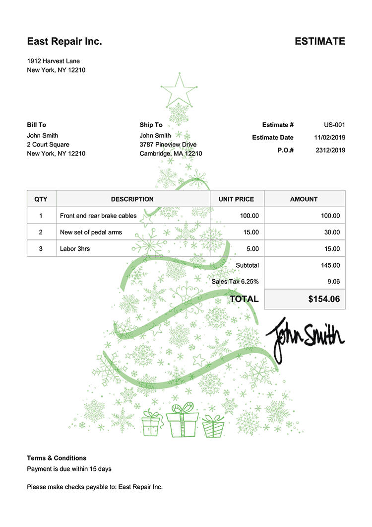 Estimate Template Us Christmas Tree Green