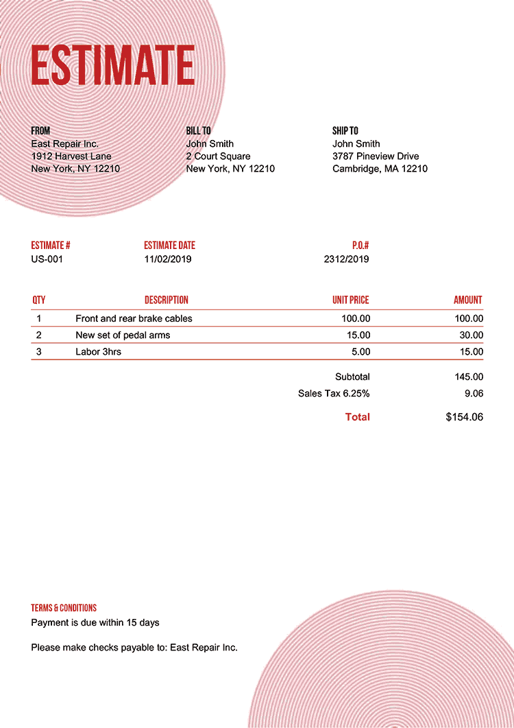 Estimate Template Us Circles Red No Logo