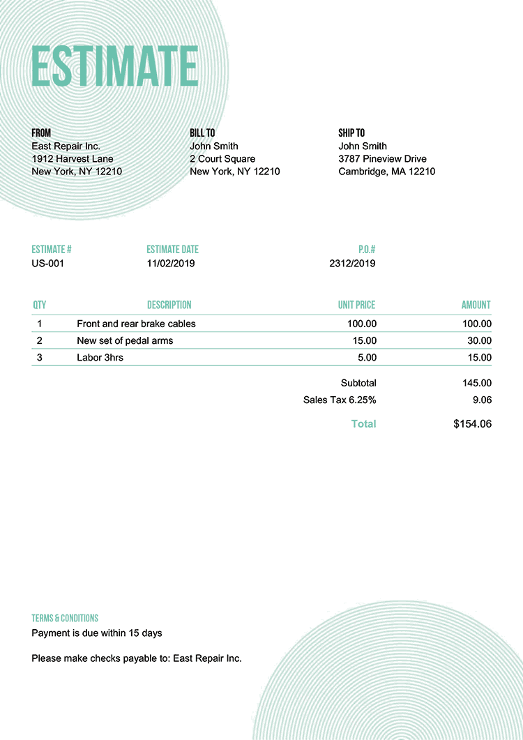 Estimate Template Us Circles Turquoise No Logo