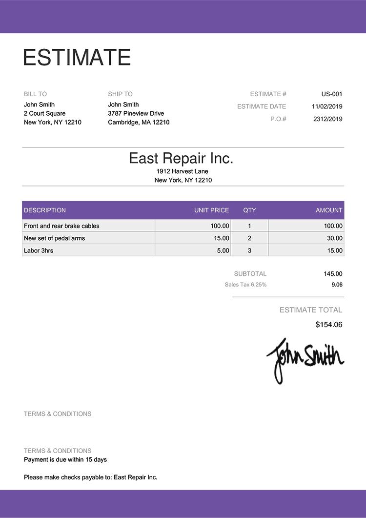 Estimate Template Us Enterprise Purple