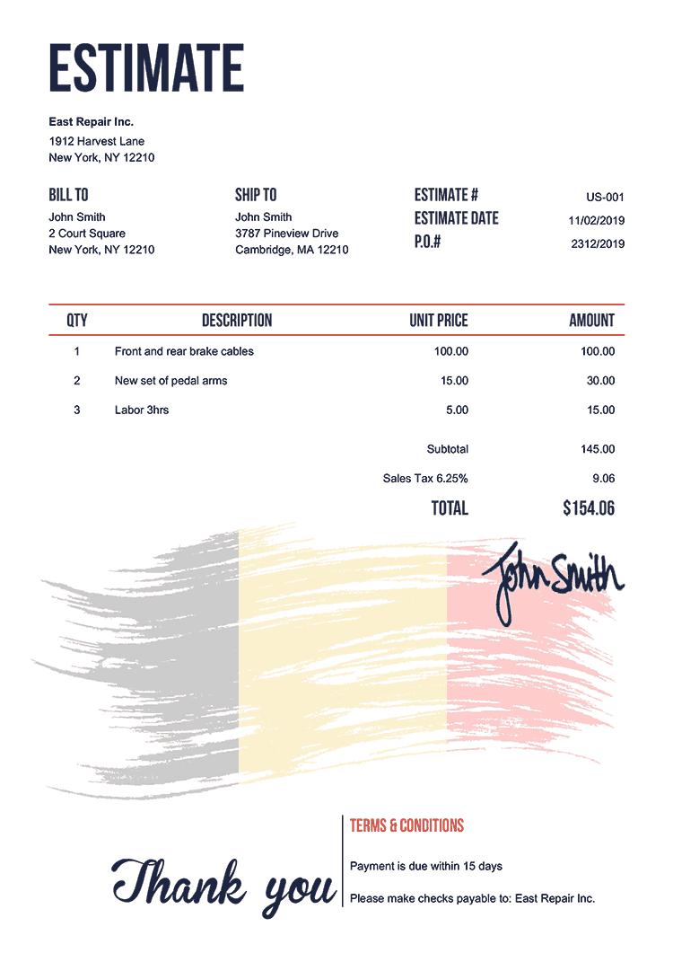 Estimate Template Us Flag Of Belgium