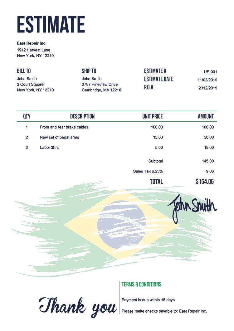 Estimate Template Us Flag Of Brazil