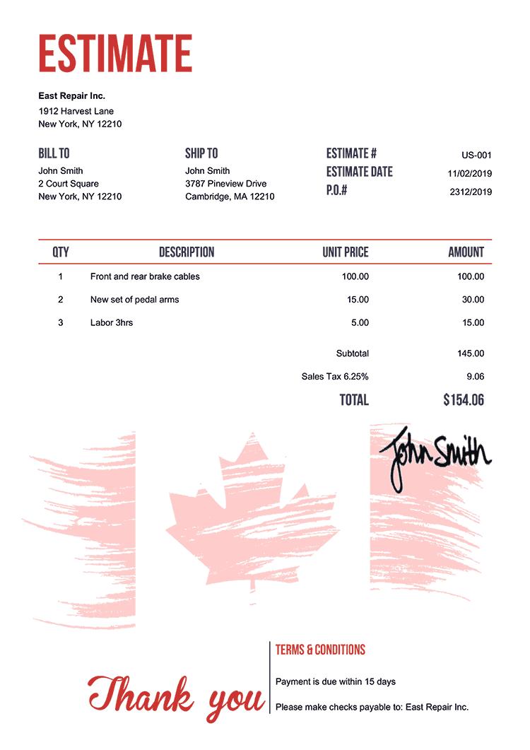 Estimate Template Us Flag Of Canada