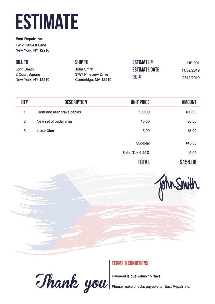 Estimate Template Us Flag Of Czechia