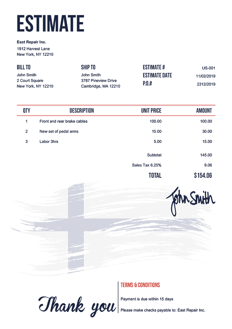 Estimate Template Us Flag Of Finland