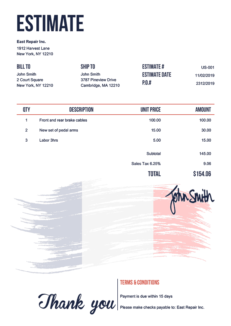 Estimate Template Us Flag Of France