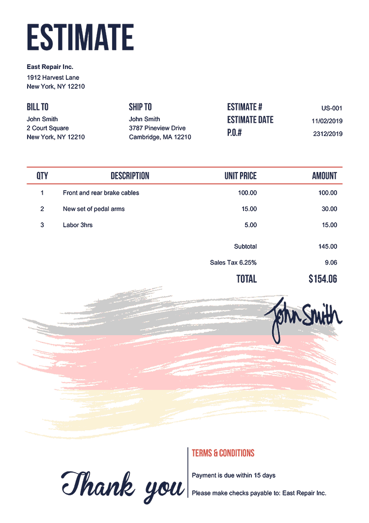 Estimate Template Us Flag Of Germany