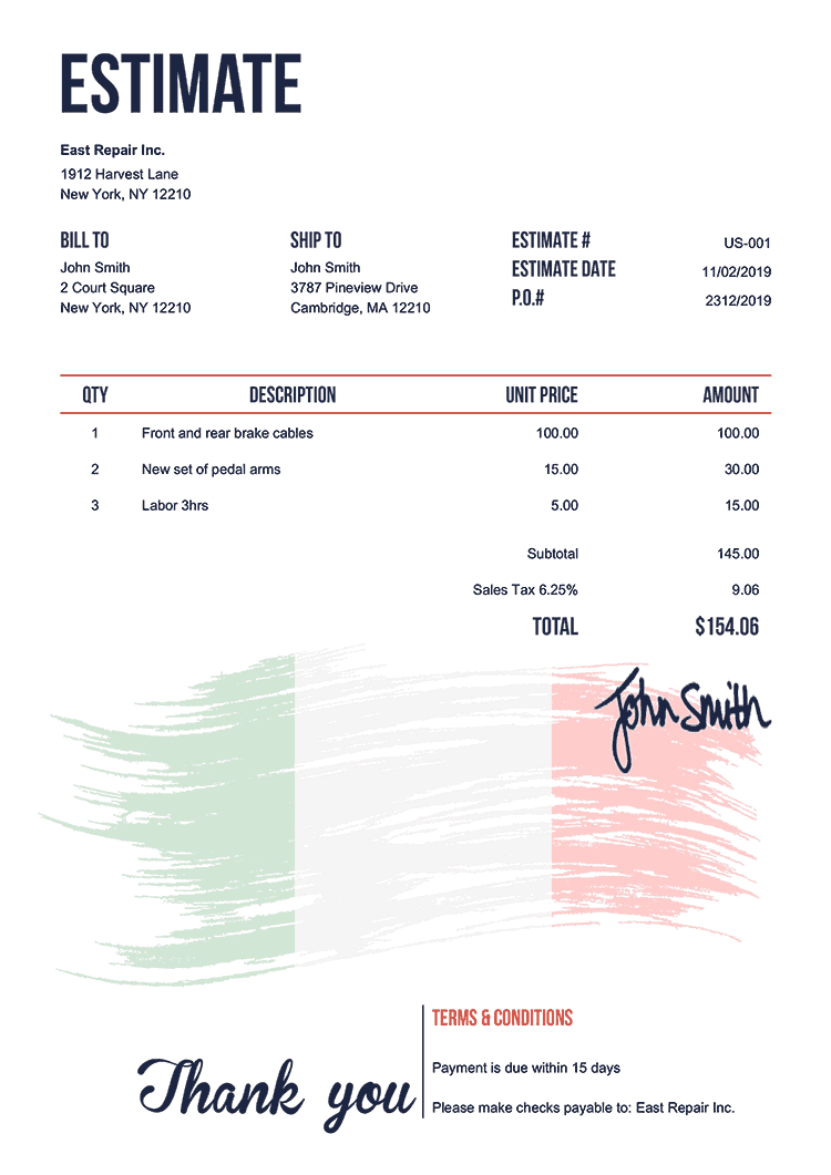 Estimate Template Us Flag Of Italy
