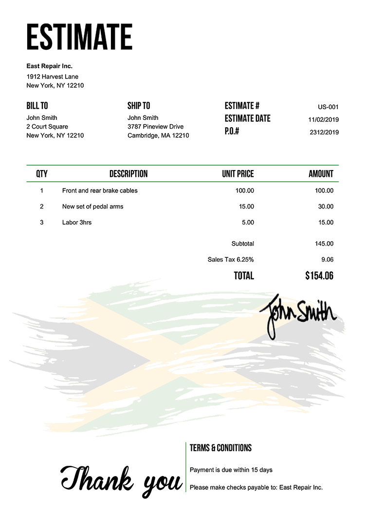 Estimate Template Us Flag Of Jamaica