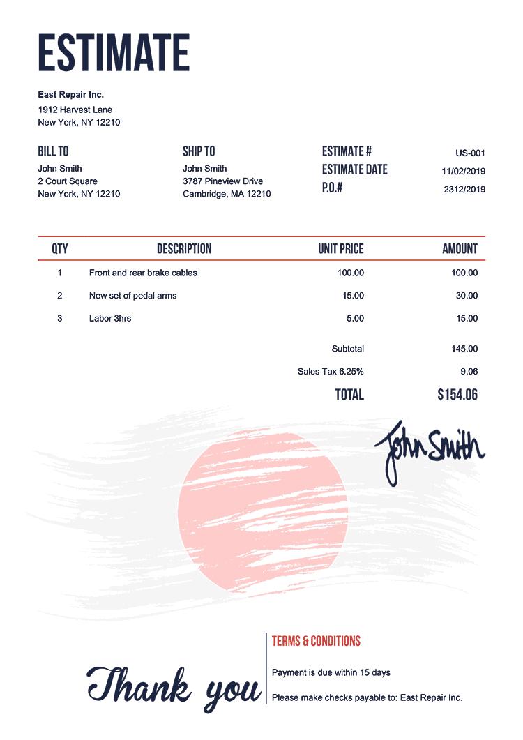 Estimate Template Us Flag Of Japan