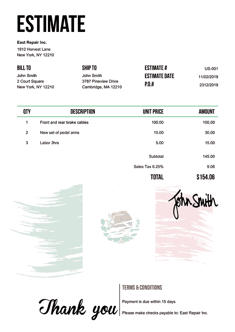 Estimate Template Us Flag Of Mexico