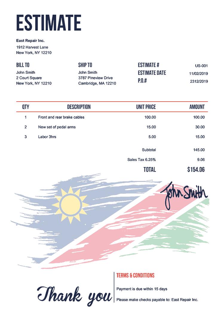 Estimate Template Us Flag Of Namibia