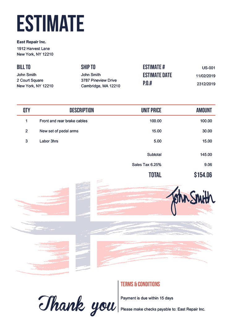 Estimate Template Us Flag Of Norway