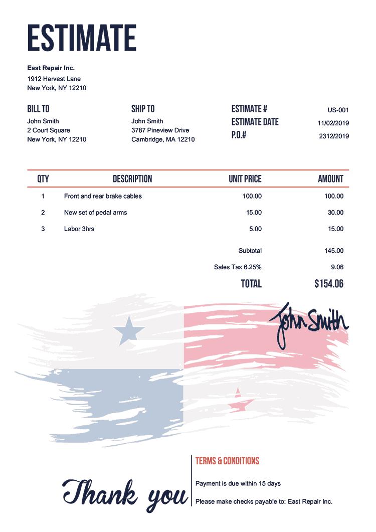 Estimate Template Us Flag Of Panama