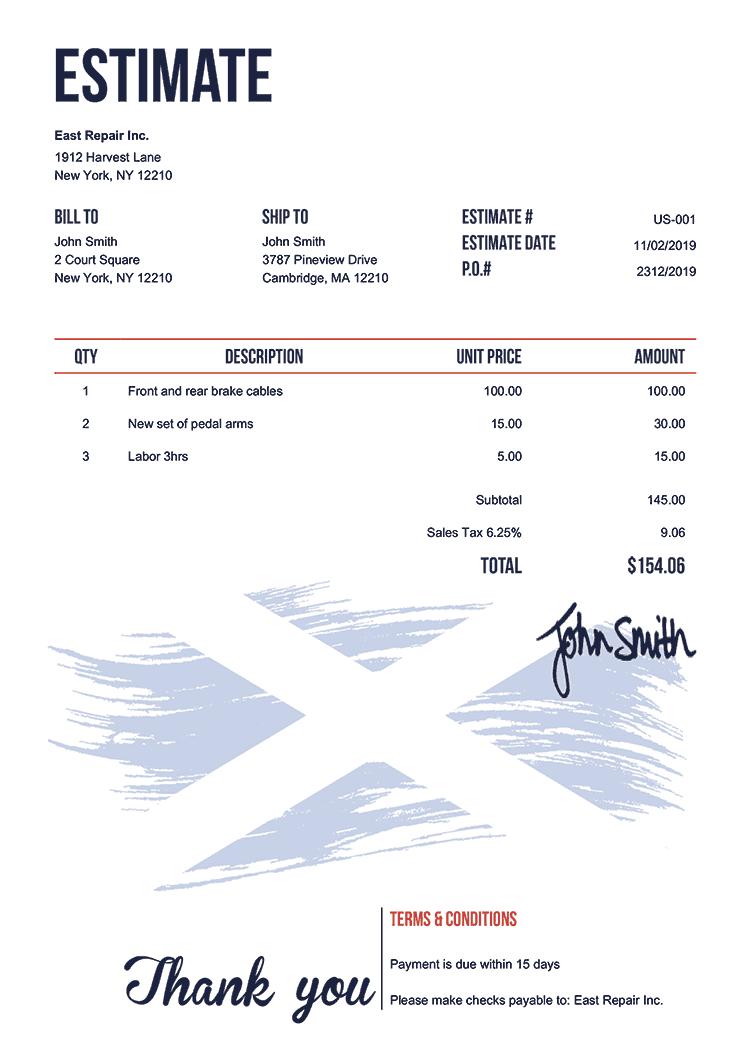 Estimate Template Us Flag Of Scotland