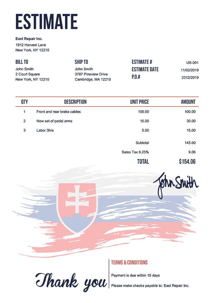 Estimate Template Us Flag Of Slovakia
