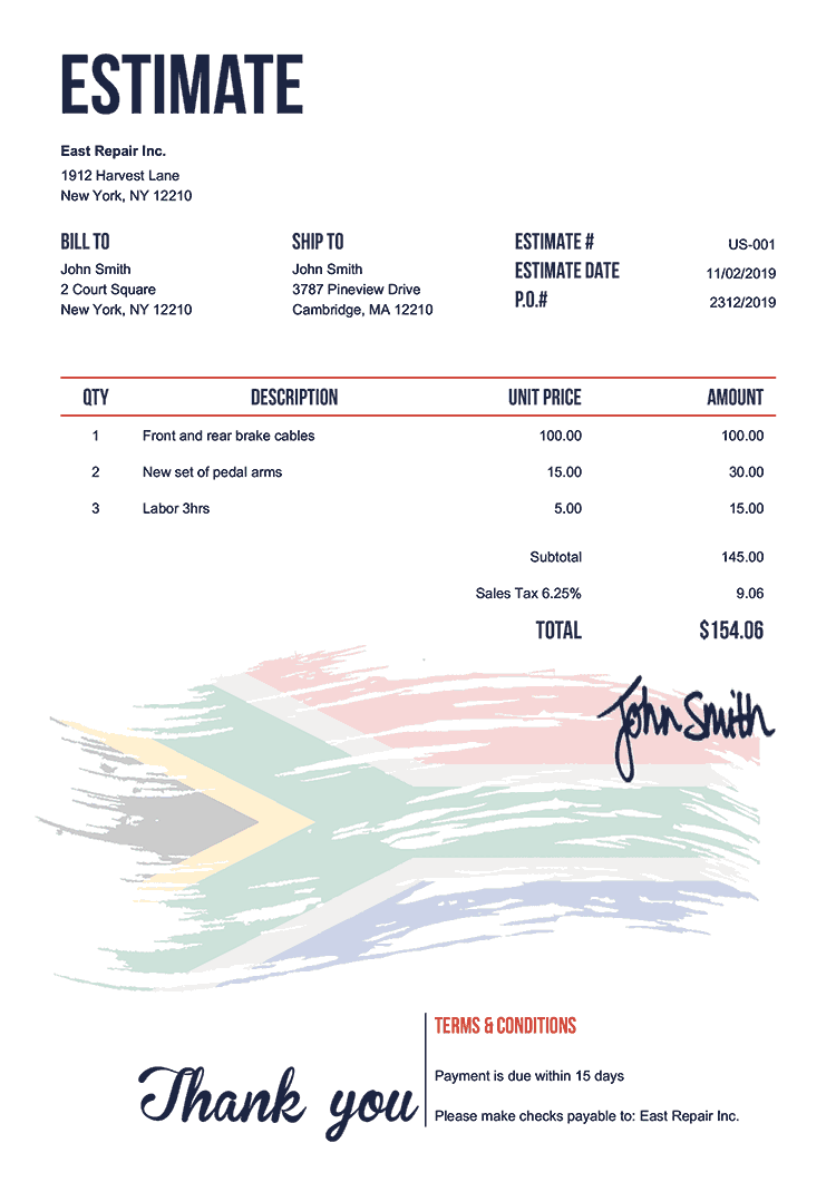 Estimate Template Us Flag Of South Africa