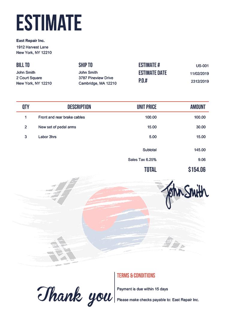 Estimate Template Us Flag Of South Korea