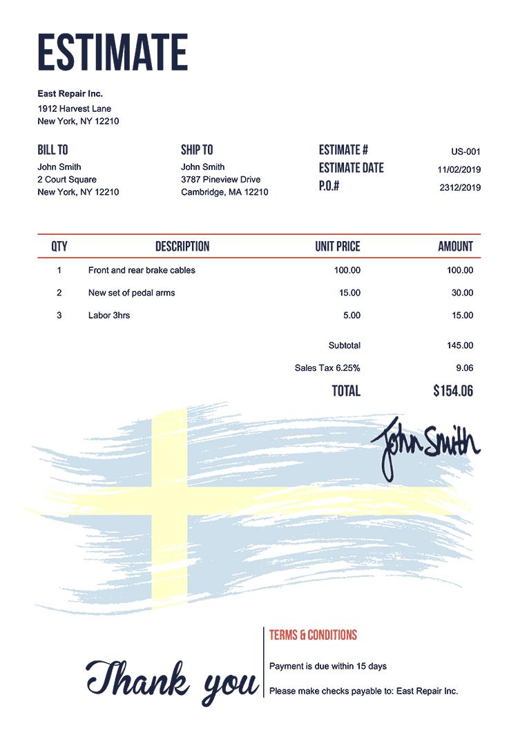 Estimate Template Us Flag Of Sweden