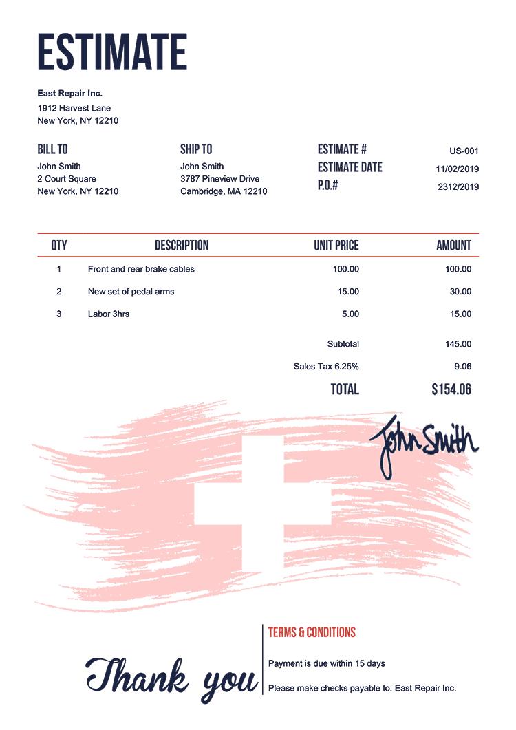 Estimate Template Us Flag Of Switzerland