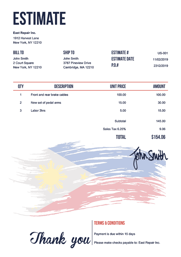 Estimate Template Us Flag Of The Philippines