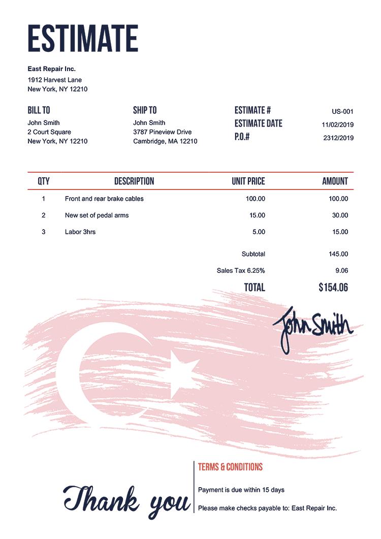 Estimate Template Us Flag Of Turkey
