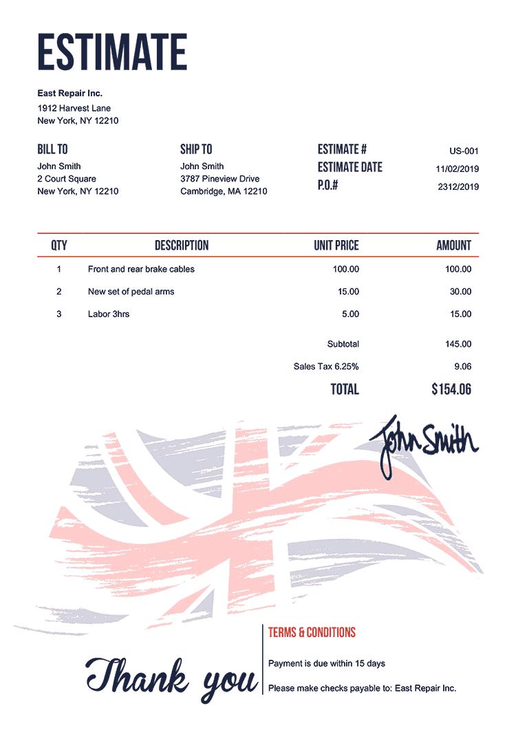 Estimate Template Us Flag Of United Kingdom