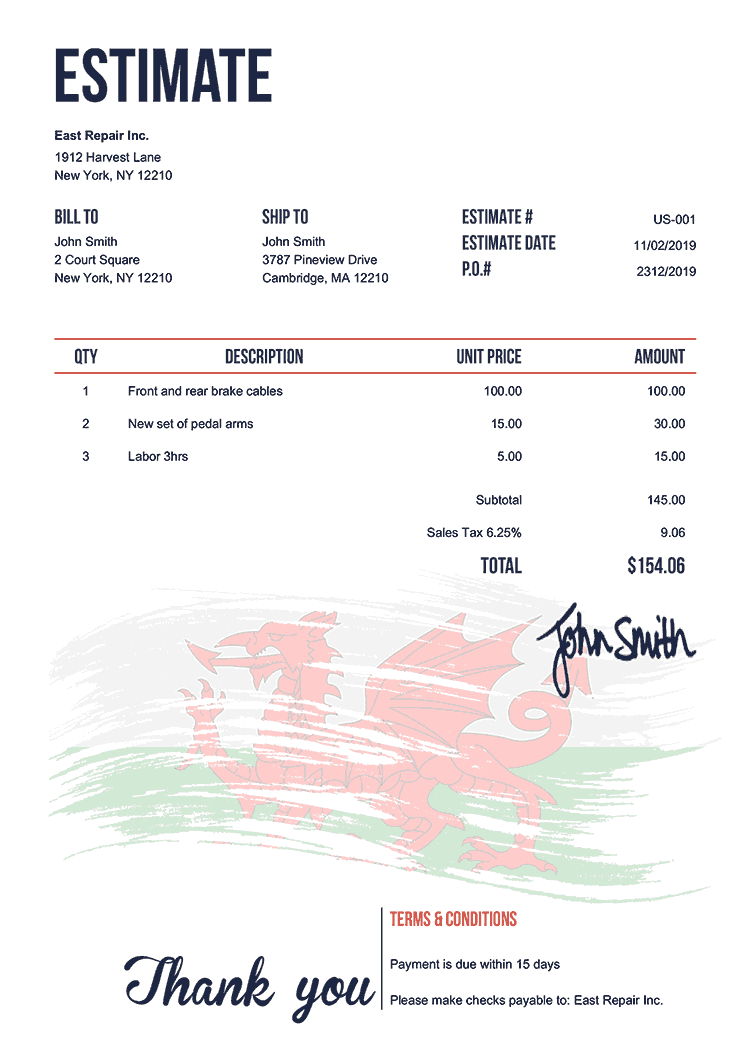 Estimate Template Us Flag Of Wales