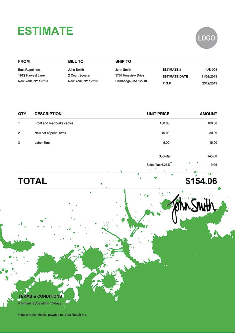 Estimate Template Us Ink Blot Green