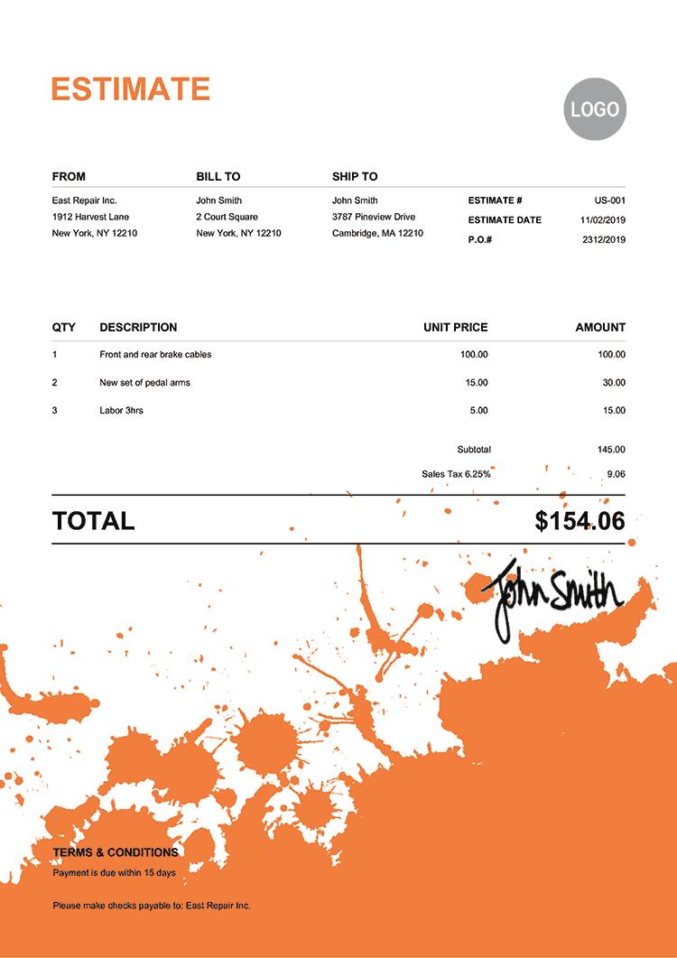 Estimate Template Us Ink Blot Orange