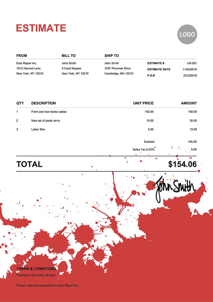 Estimate Template Us Ink Blot Red