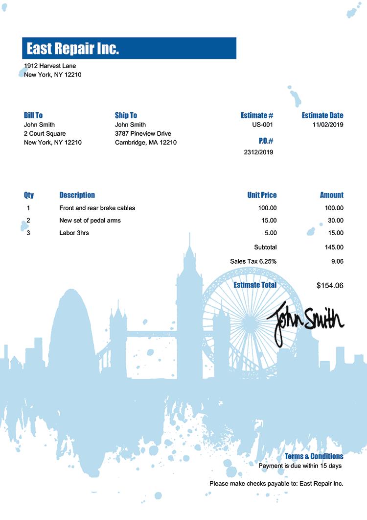 Estimate Template Us London