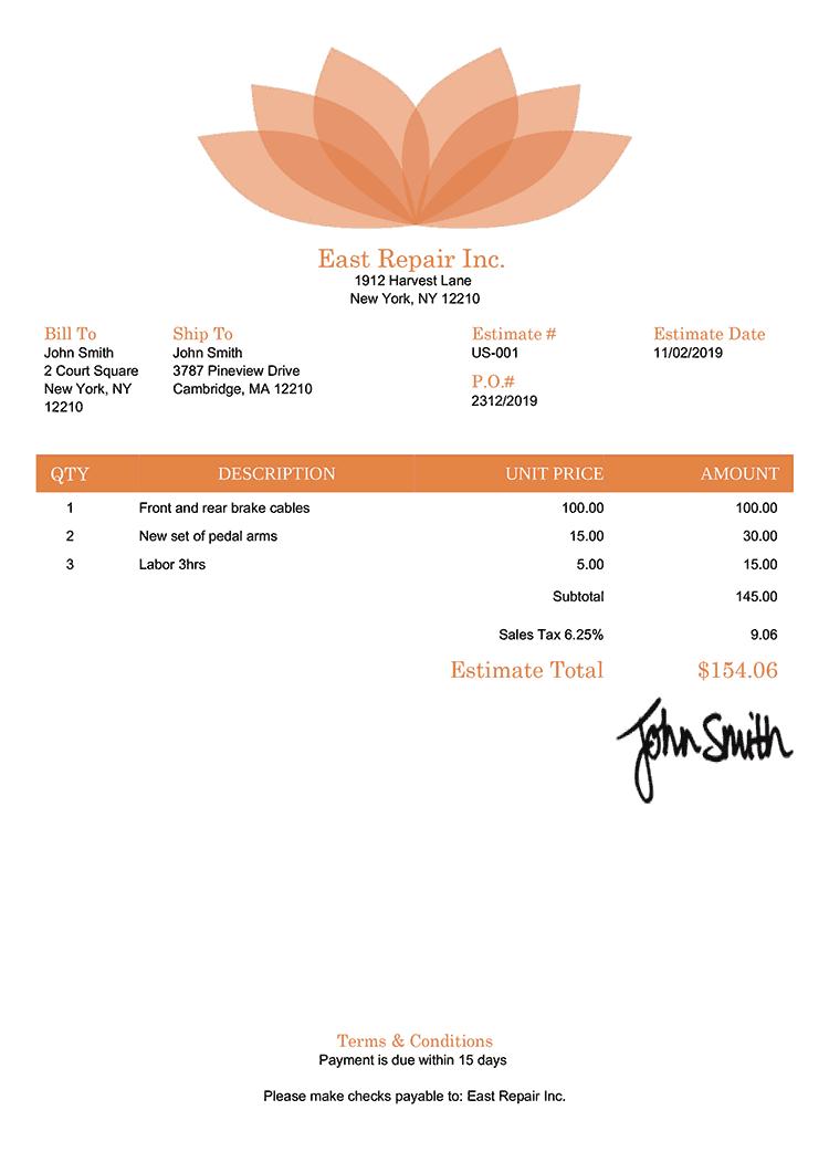 Estimate Template Us Lotus Orange