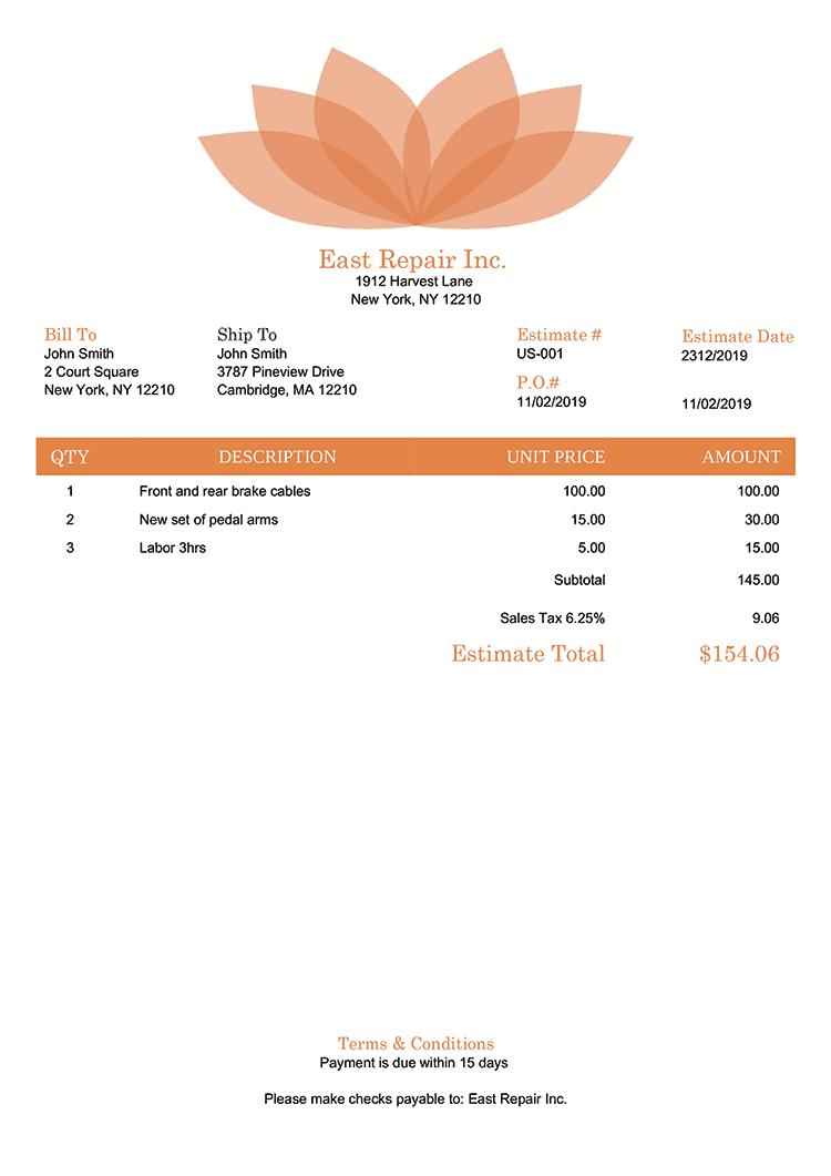 Estimate Template Us Lotus Orange No Logo