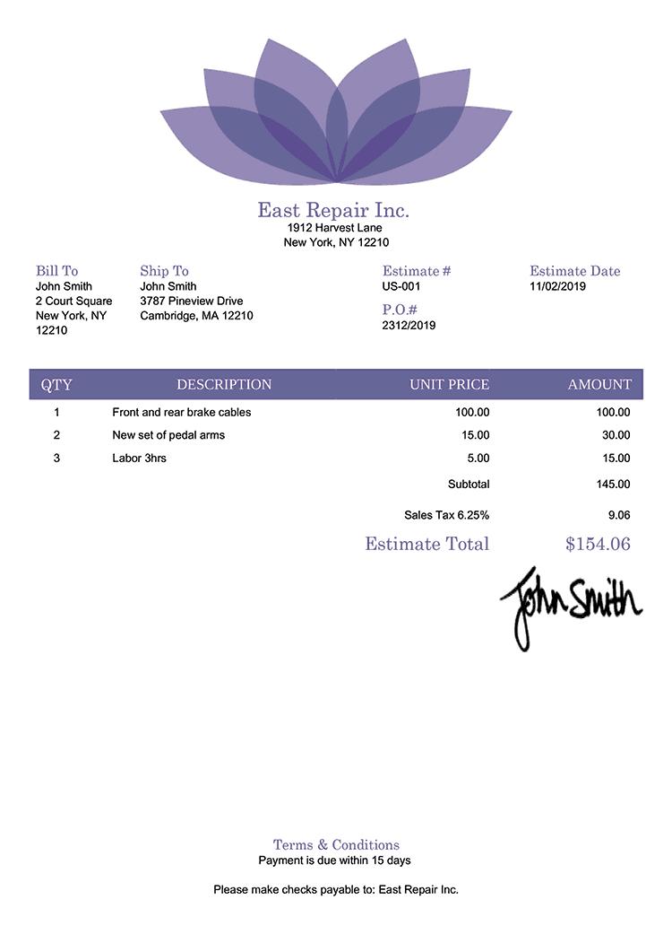 Estimate Template Us Lotus Purple