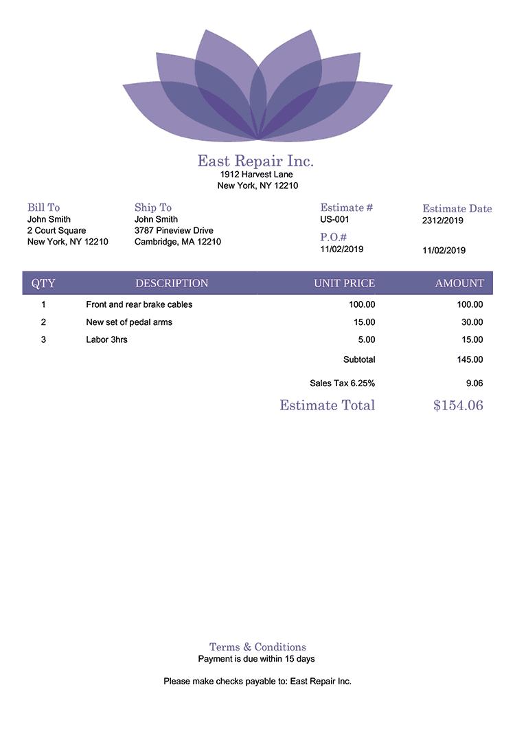 Estimate Template Us Lotus Purple No Logo