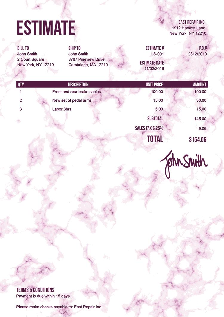 Estimate Template Us Marble Pink