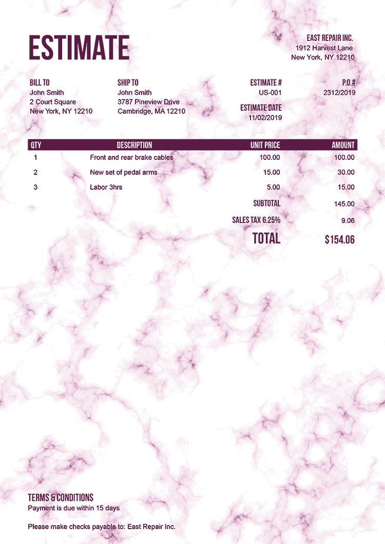 Estimate Template Us Marble Pink No Logo