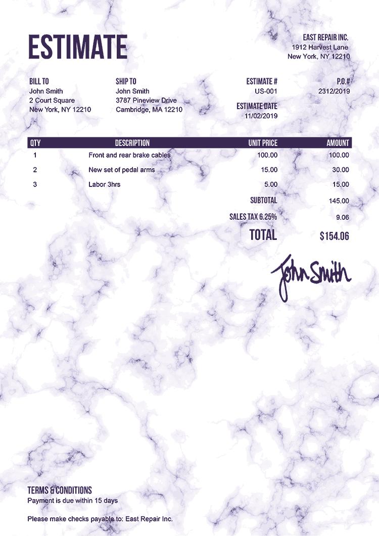 Estimate Template Us Marble Purple