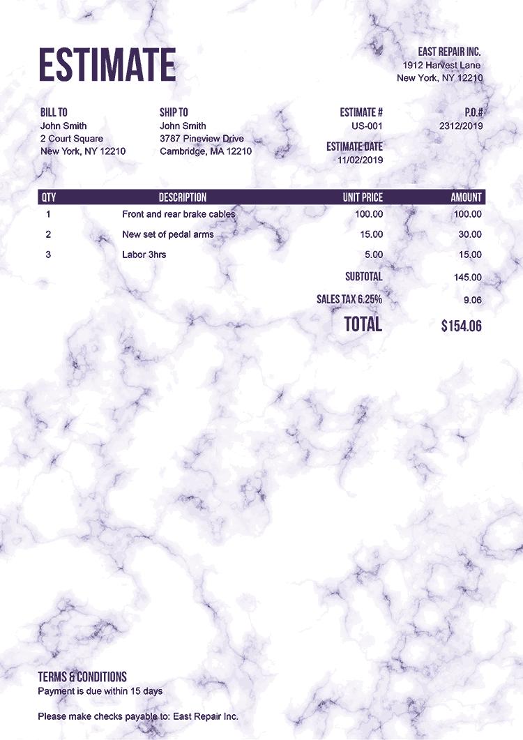 Estimate Template Us Marble Purple No Logo