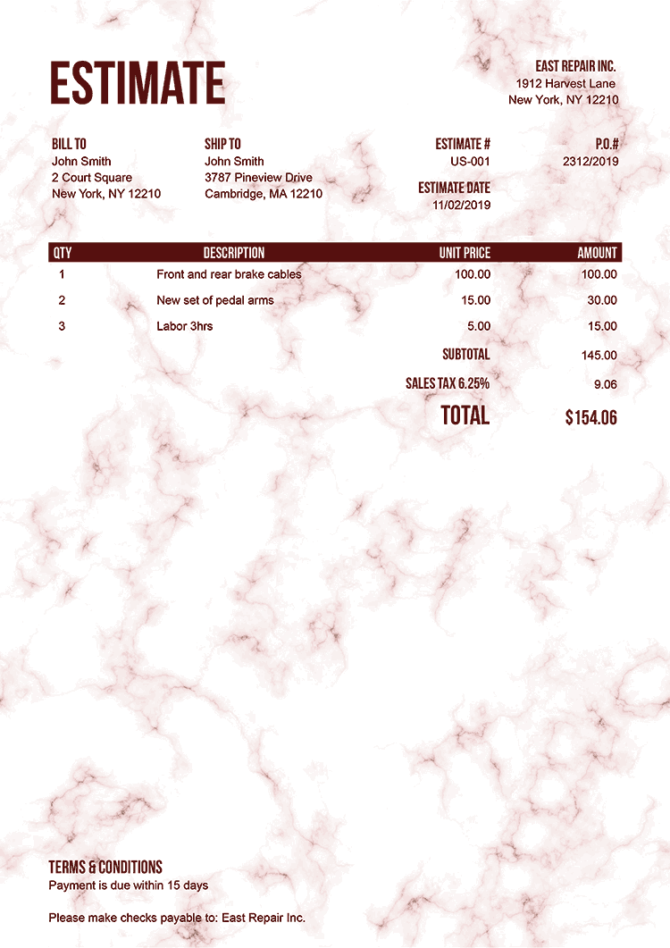 Estimate Template Us Marble Red No Logo