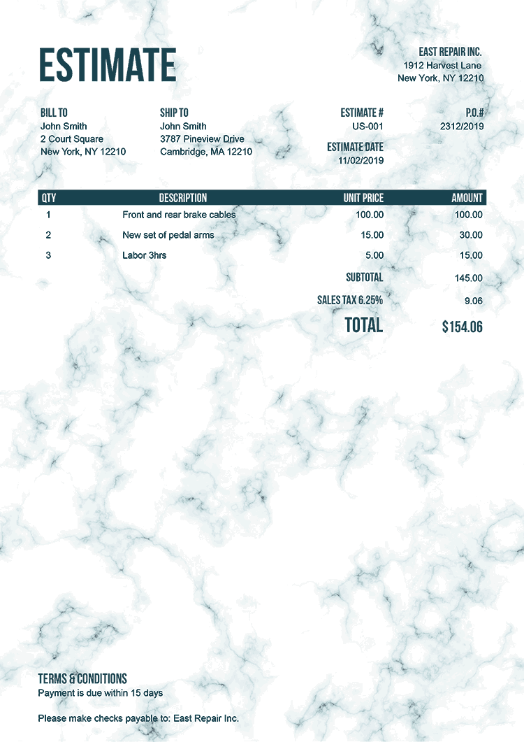 Estimate Template Us Marble Teal No Logo