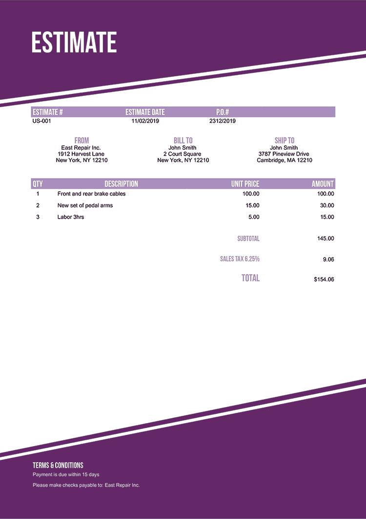 Estimate Template Us Modest Purple No Logo