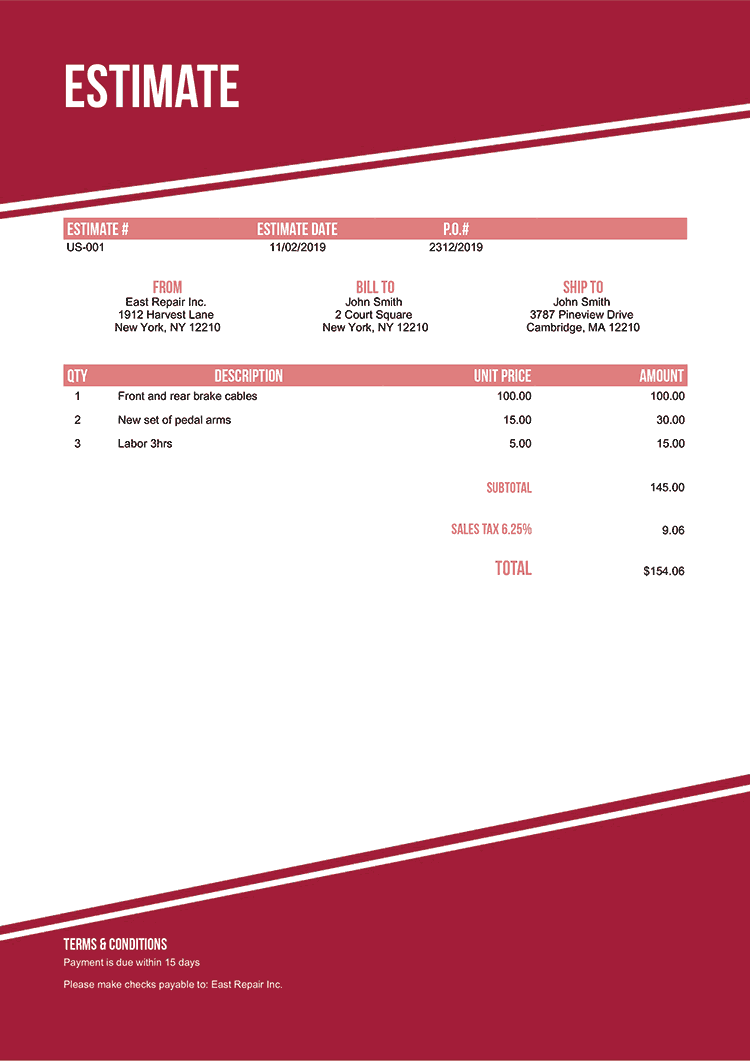 Estimate Template Us Modest Red No Logo