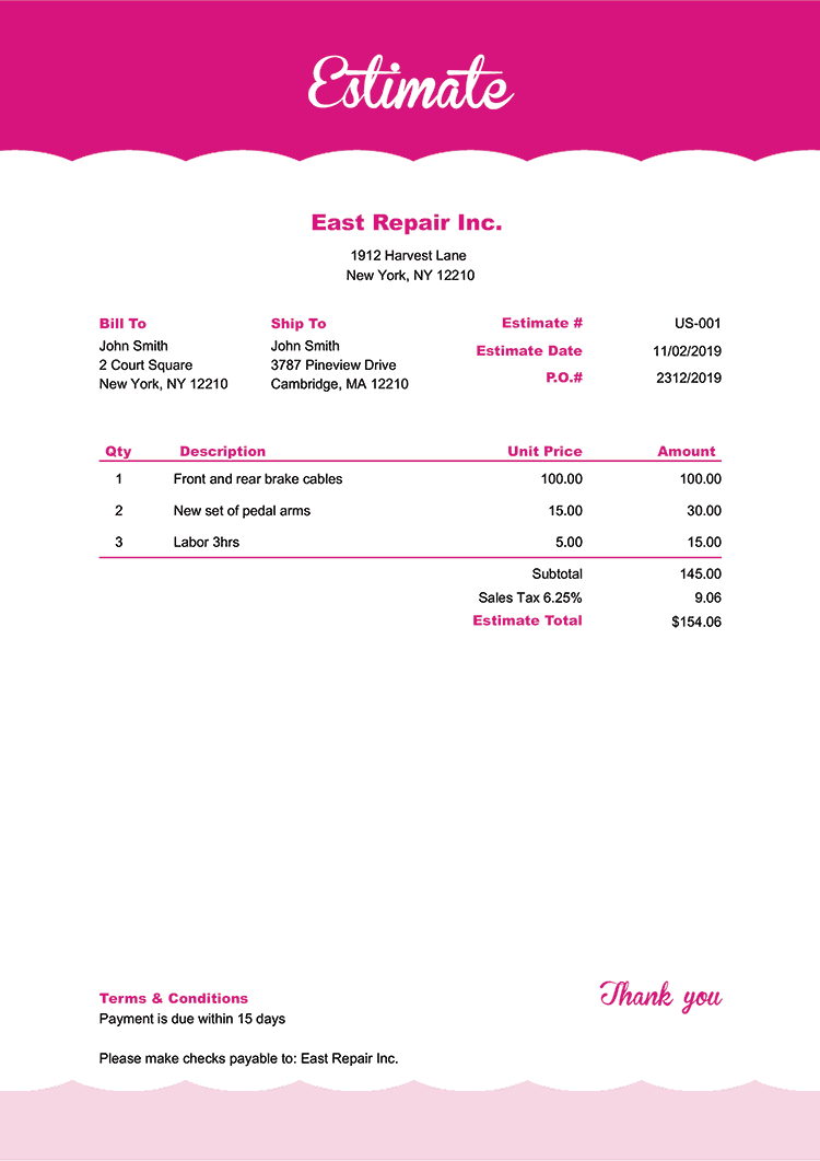 Estimate Template Us Pink Frosting No Logo