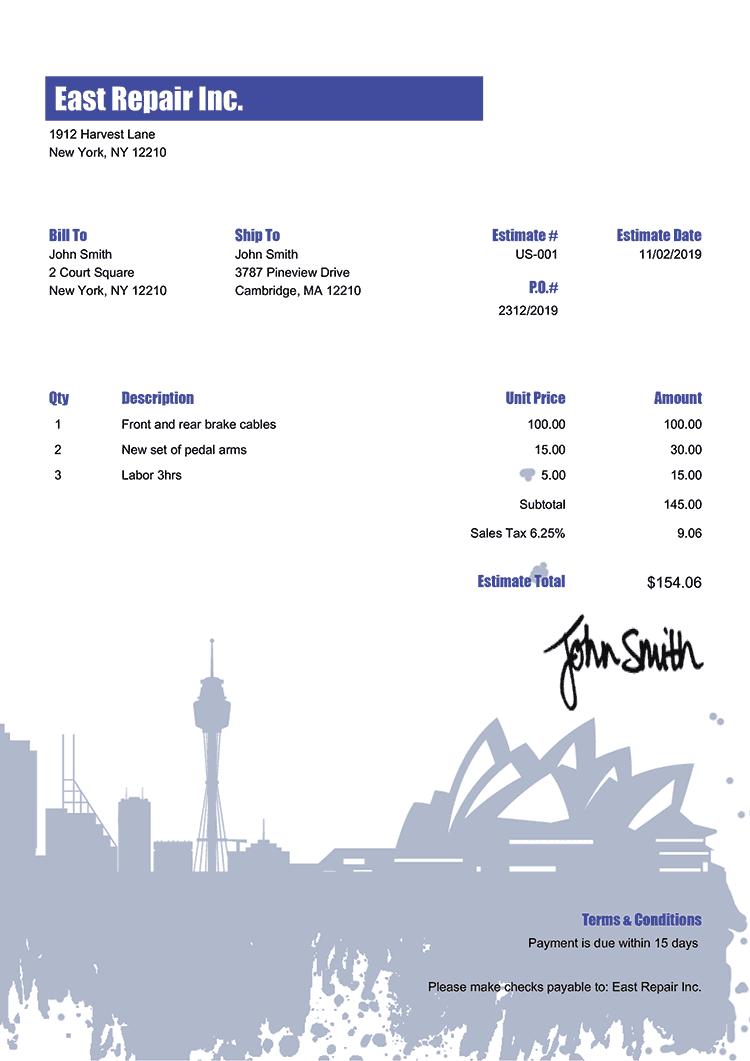 Estimate Template Us Sydney