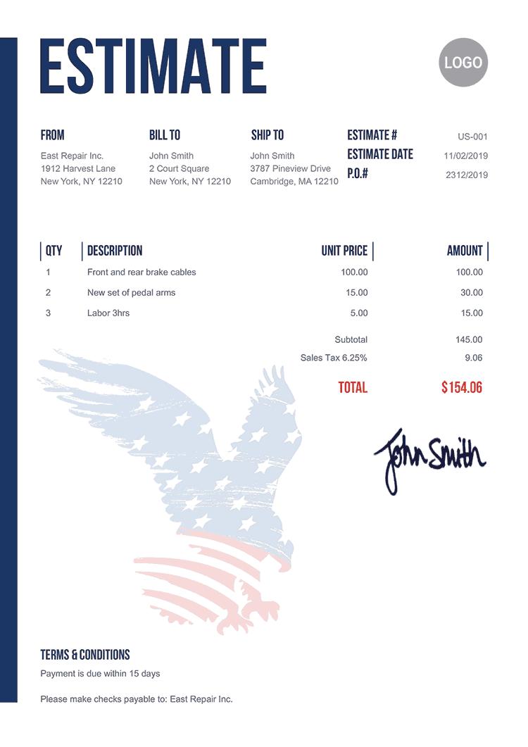 Estimate Template Us Us Eagle