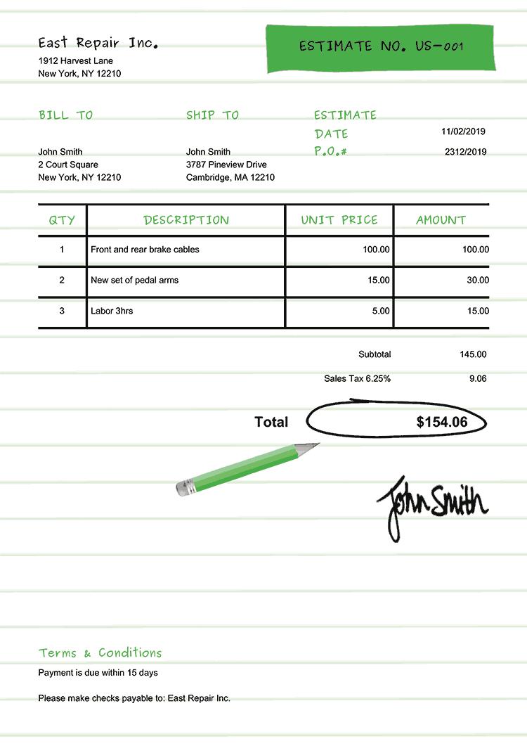 Estimate Template Us Workbook Green