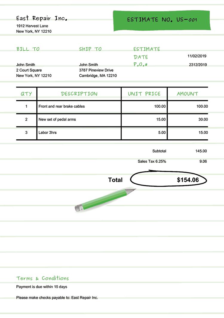 Estimate Template Us Workbook Green No Logo