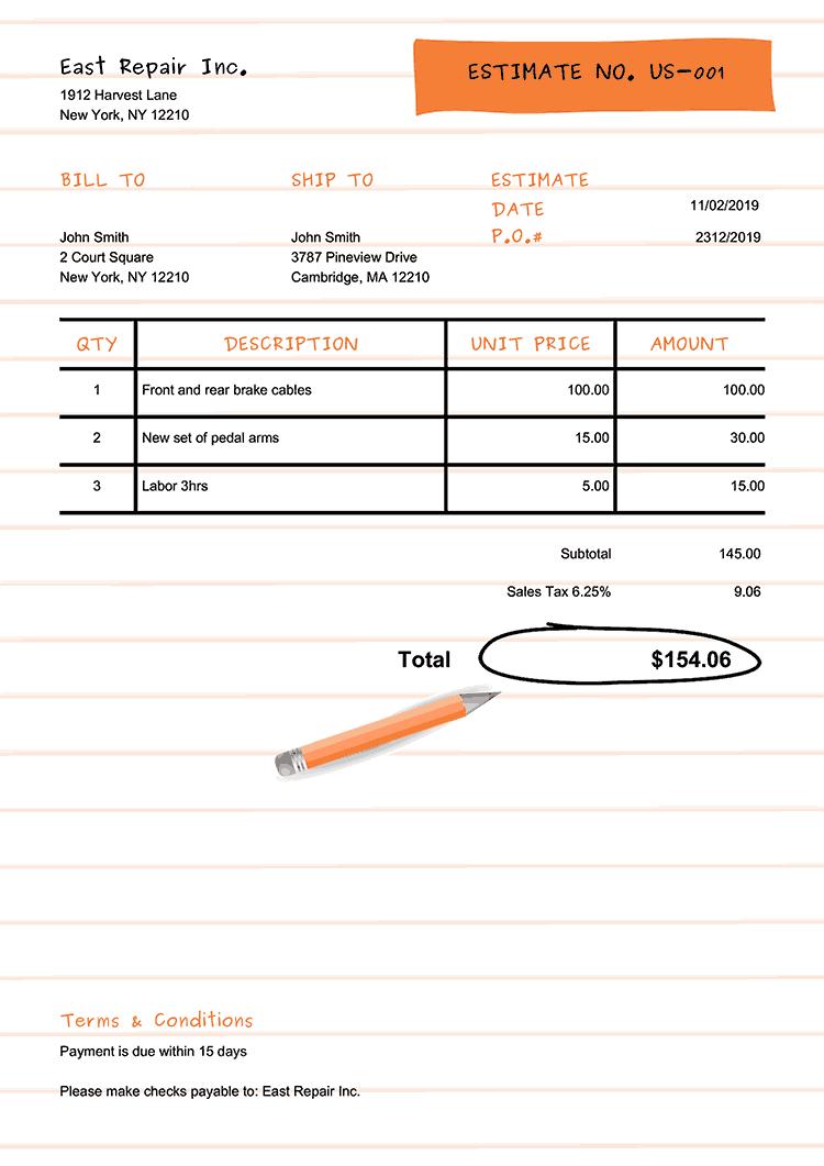 Estimate Template Us Workbook Orange No Logo